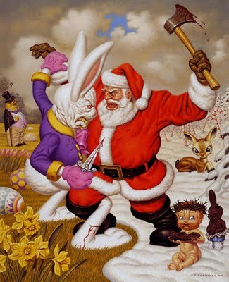 LOWBROW ART o SURREALISMO POP. Opera di Todd Schorr: Santa Bunny