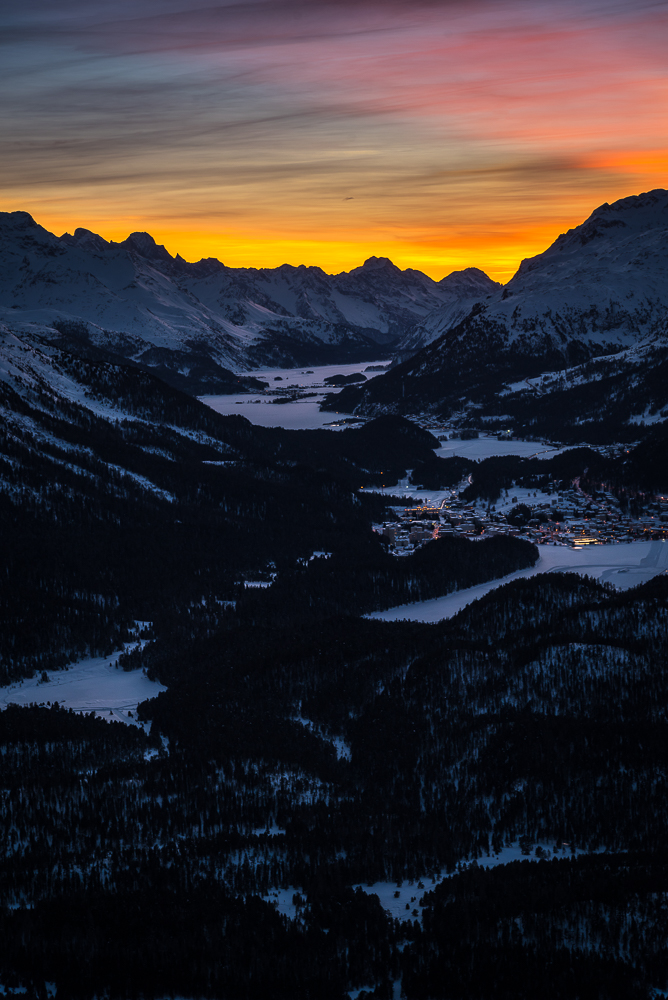Engadin from Muottas Muragl after sunset