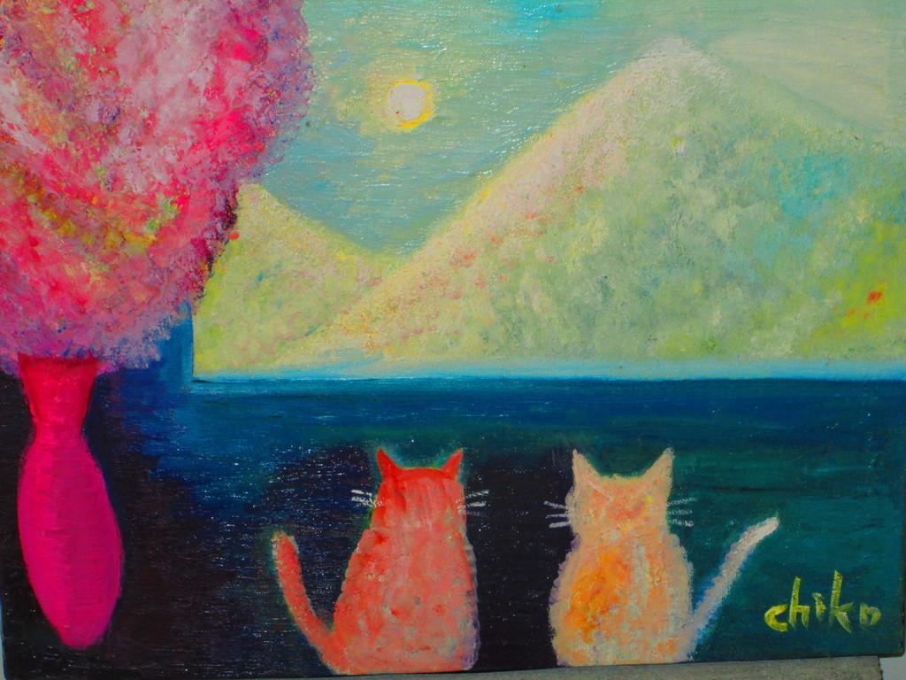 9,猫のいる情景Ⅰ キャンバス  油彩  F6  ¥65000
