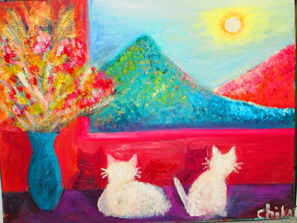 8,猫のいる情景Ⅱ キャンバス 油彩  F6  ¥65000