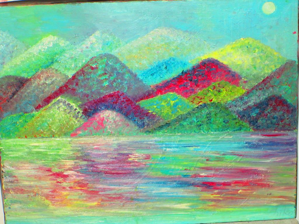 7,山々の調べ  キャンバス  油彩  F6  ¥65000