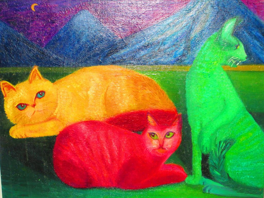 『個人主義的な猫達』  キャンバスF15     油彩  ¥150000