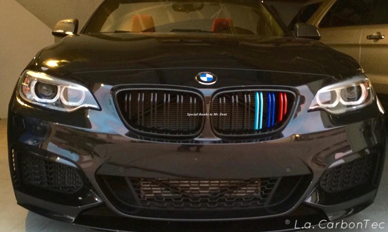 Gloss Black Dual Slat Grills With Painted M Stripes For Bmw F22