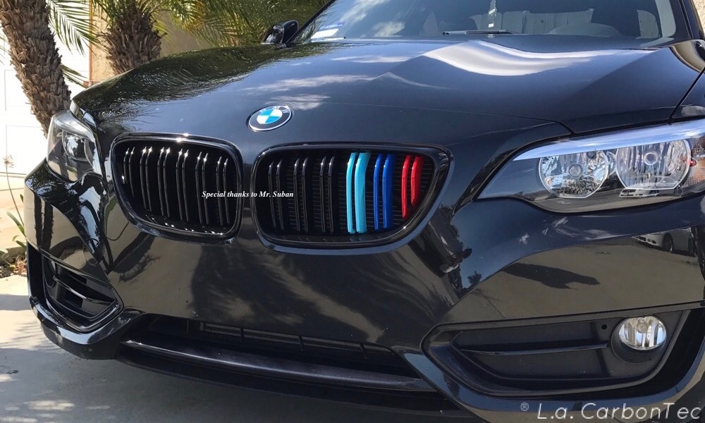 Gloss Black Dual Slat Grills With Painted M Stripes For F30