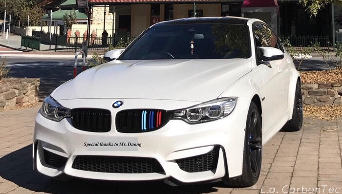 Gloss Black Dual Slat Grills With Painted M Stripes For F80 M3