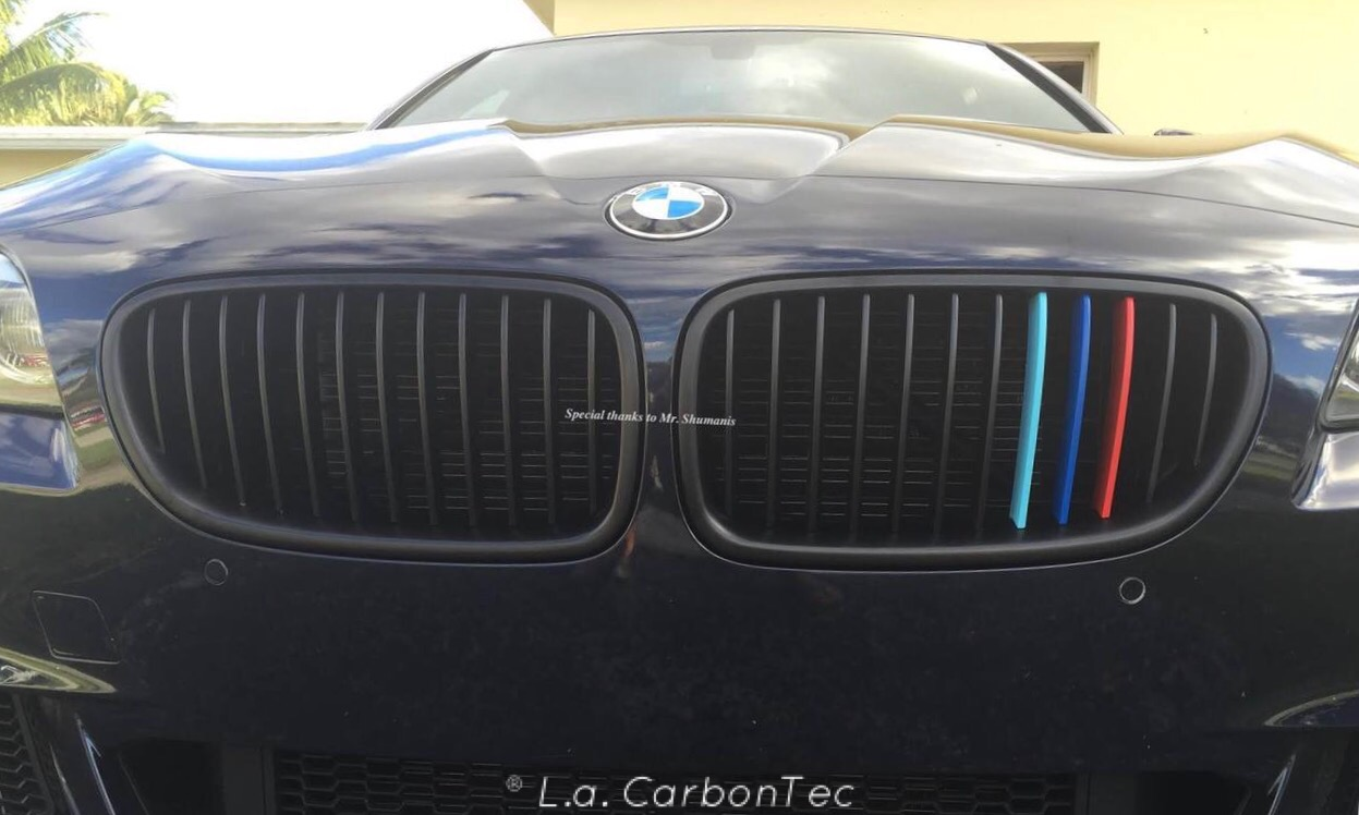 Matte Black Single Slat Grills With Painted M Stripes For F30