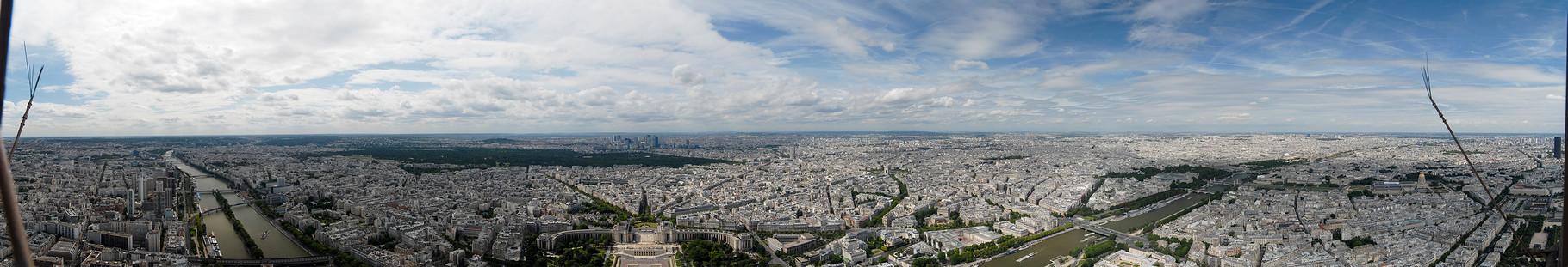 Blick auf Paris vom Eiffelturm (in der Mitte der Trocadero)