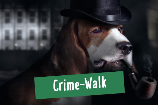 Hund mit Hut und Pfeife als Detektiv verkleidet