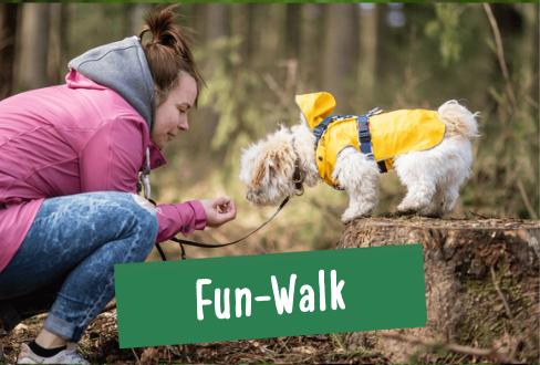 Hund mit Regenmantel im Wald in Hamburg wird von Besitzerin beim Spaziergang mit Leckerchen belohnt