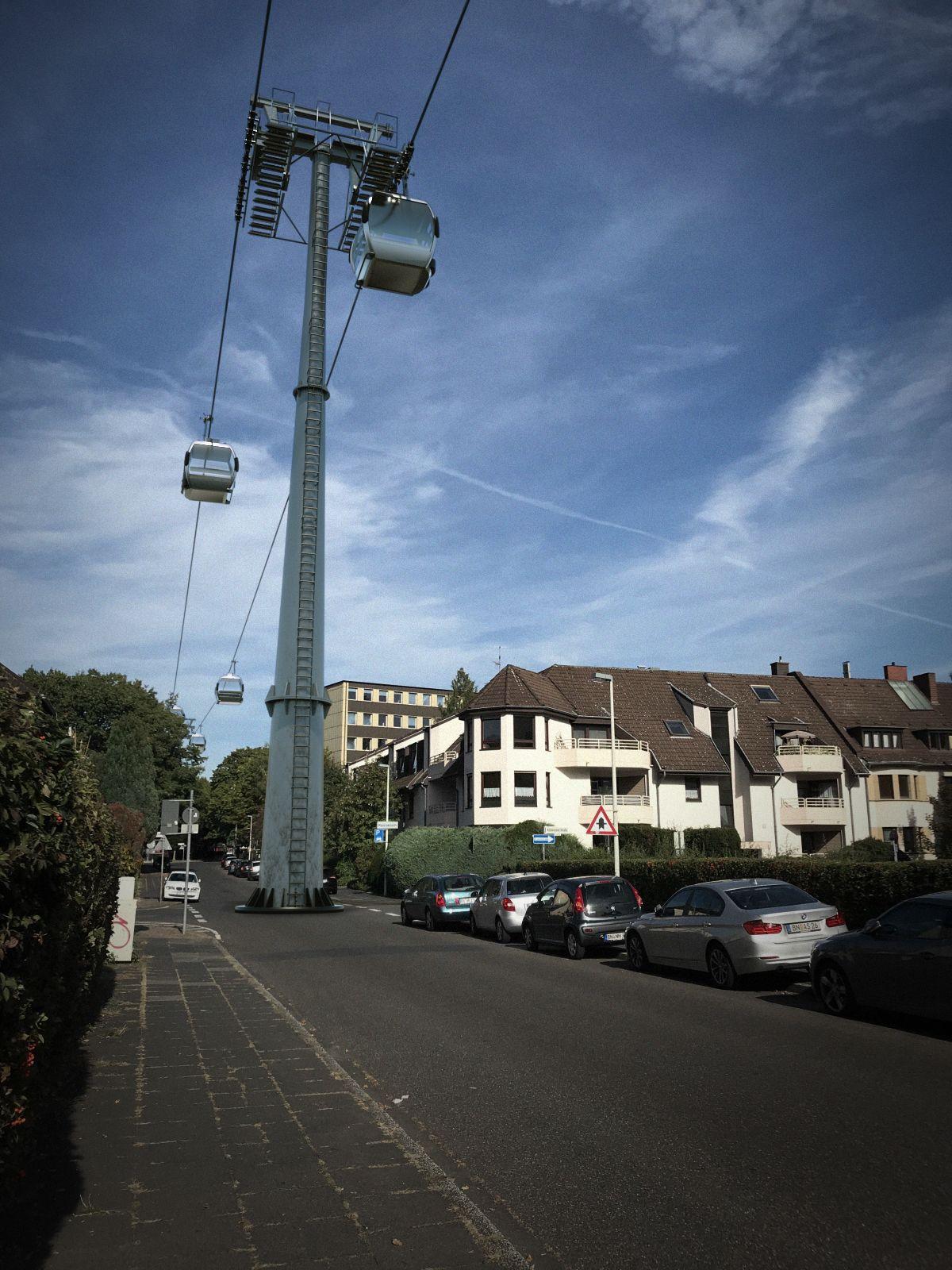 Stütze mitten in der Hermann-Milde-Straße/Urstadtstraße.