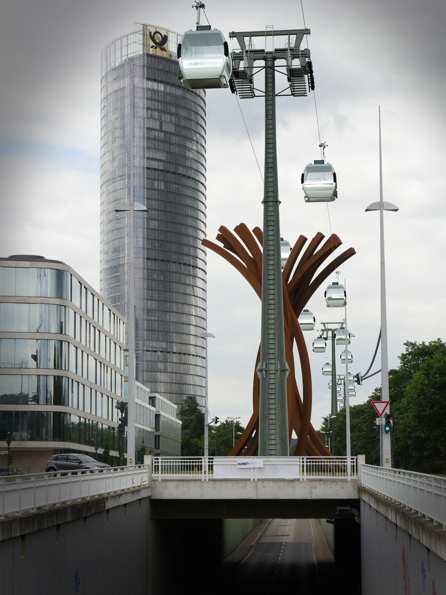 Stütze auf der Verkehrsinsel Adenauerallee. Das Kunstwerk wird zerstört.