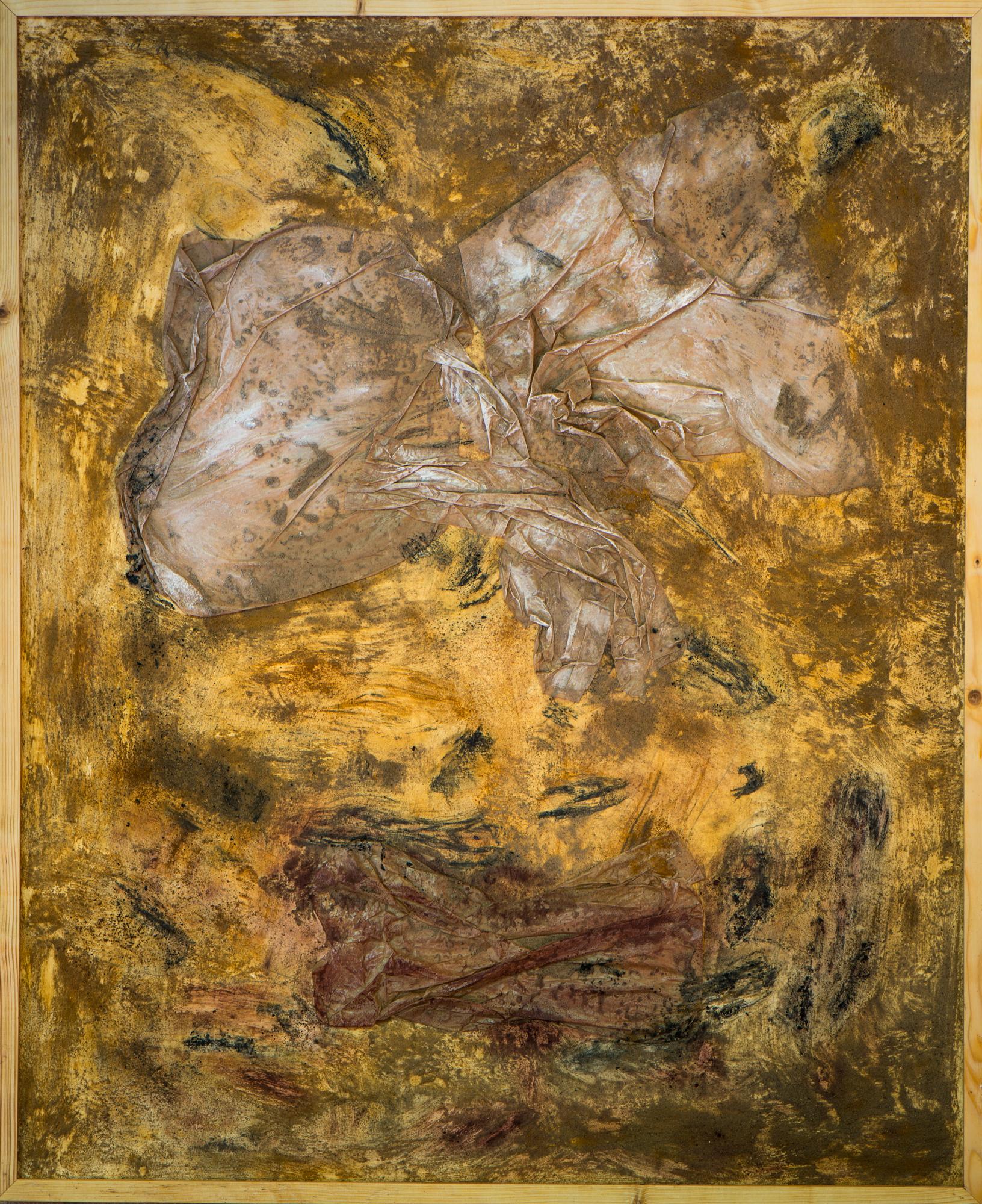 """""""Nahende Rettung"""", Papier, Sand, Pigmente, Kohle; 112cm x 93cm"""