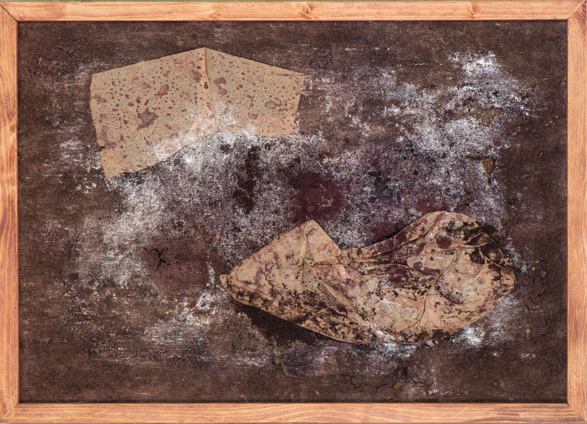"""""""Liebespaar auf der Flucht"""", Papier, Kaffeesatz, Pigmente, Kohle; 42cm x 60cm"""