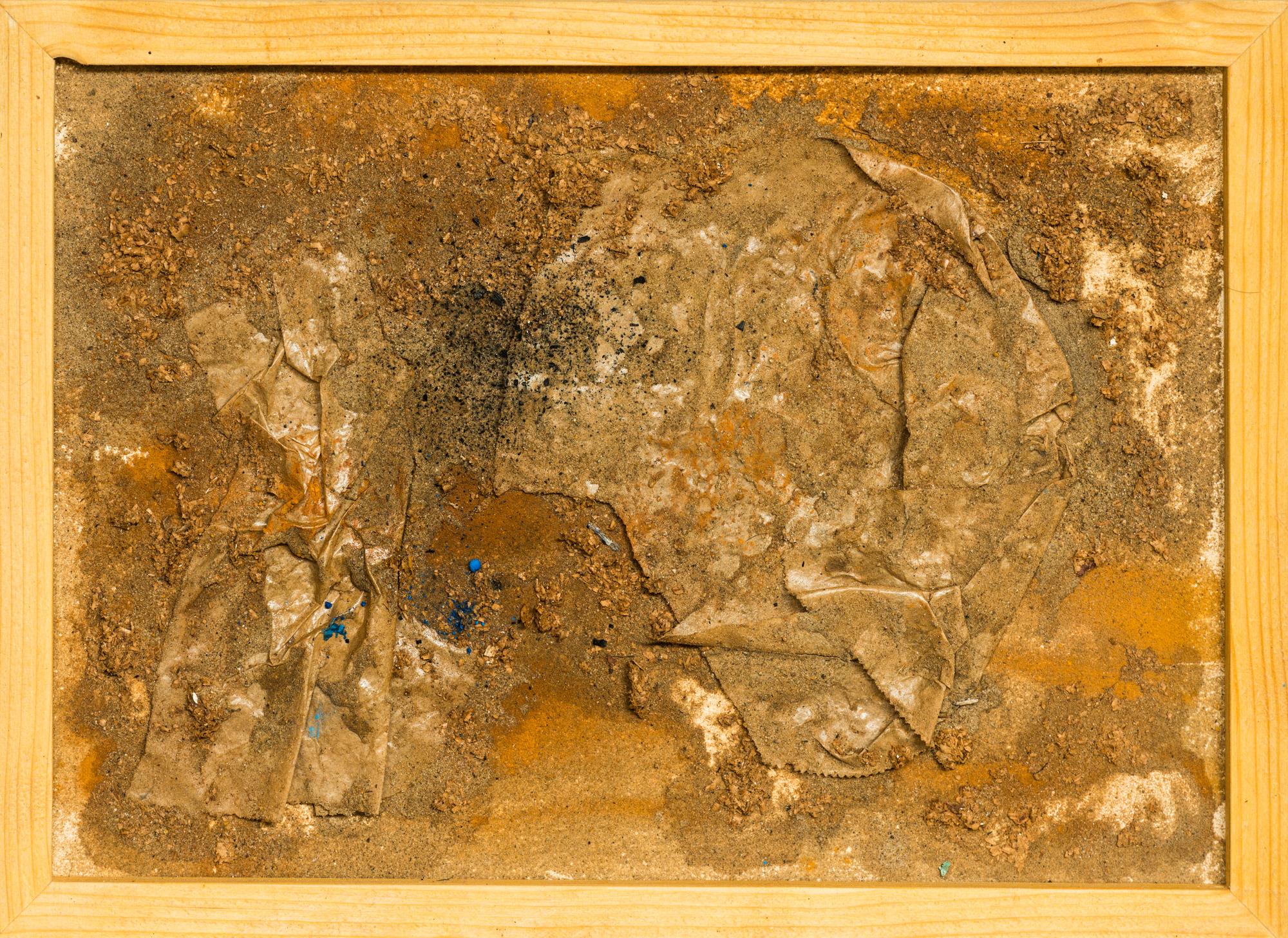 o. T.; Papier, Pigmente, Sand
