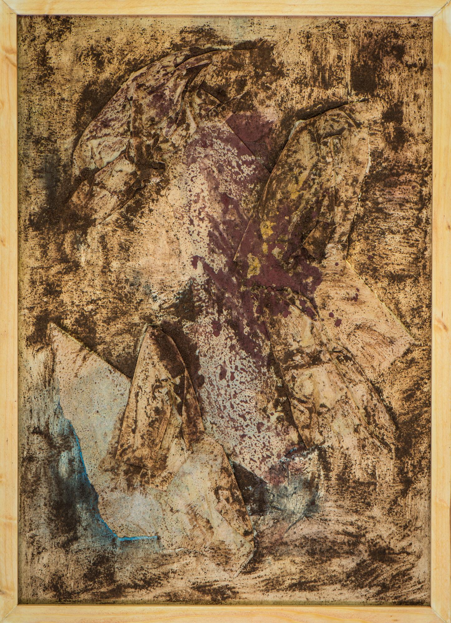 """""""Was bleibt?"""" Papier, Kaffeesatz, Pigmente auf Holz; 59,5cm x 32cm"""