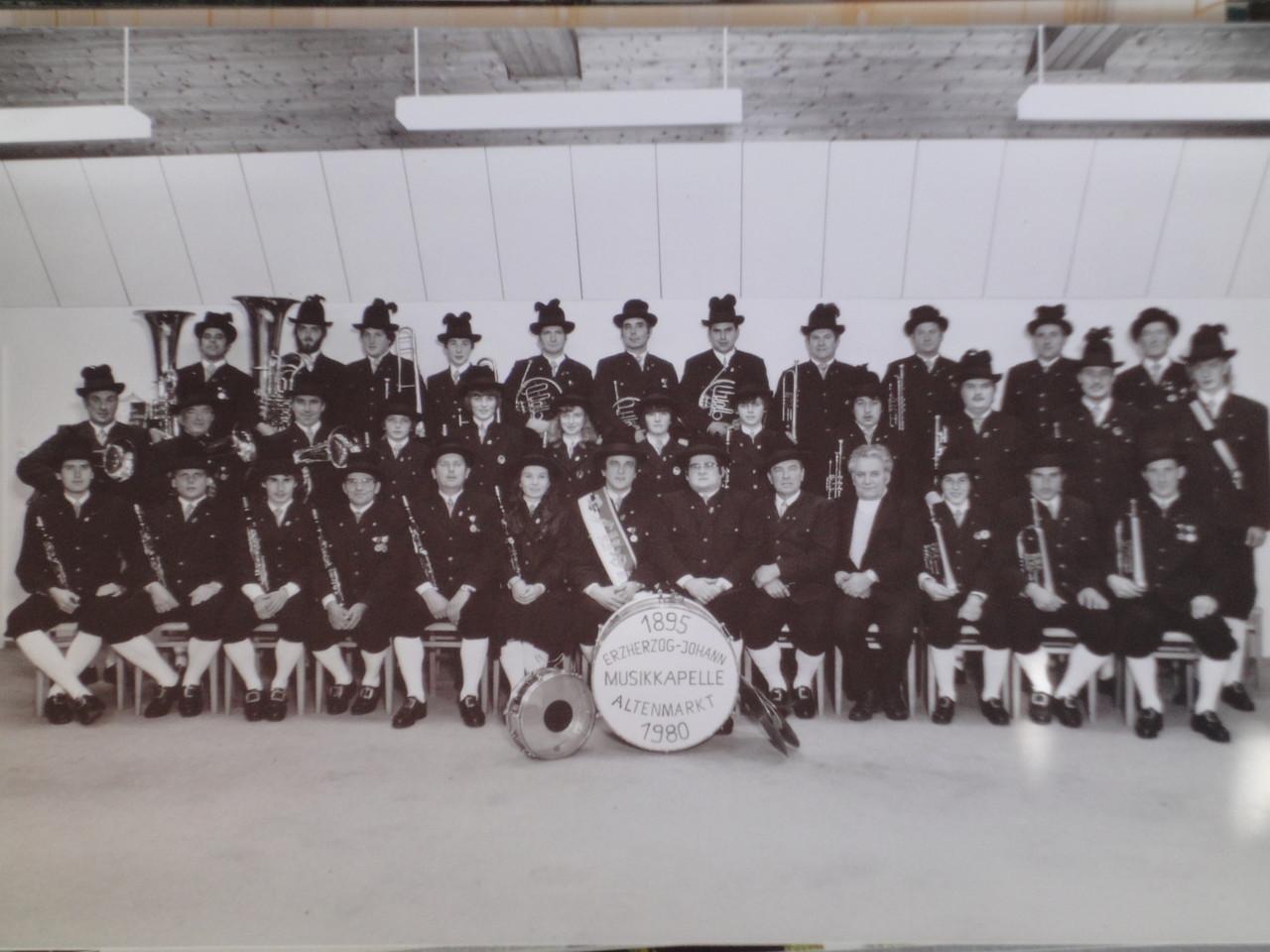 Erzherzog Johann Musikkapelle im Jahr 1980