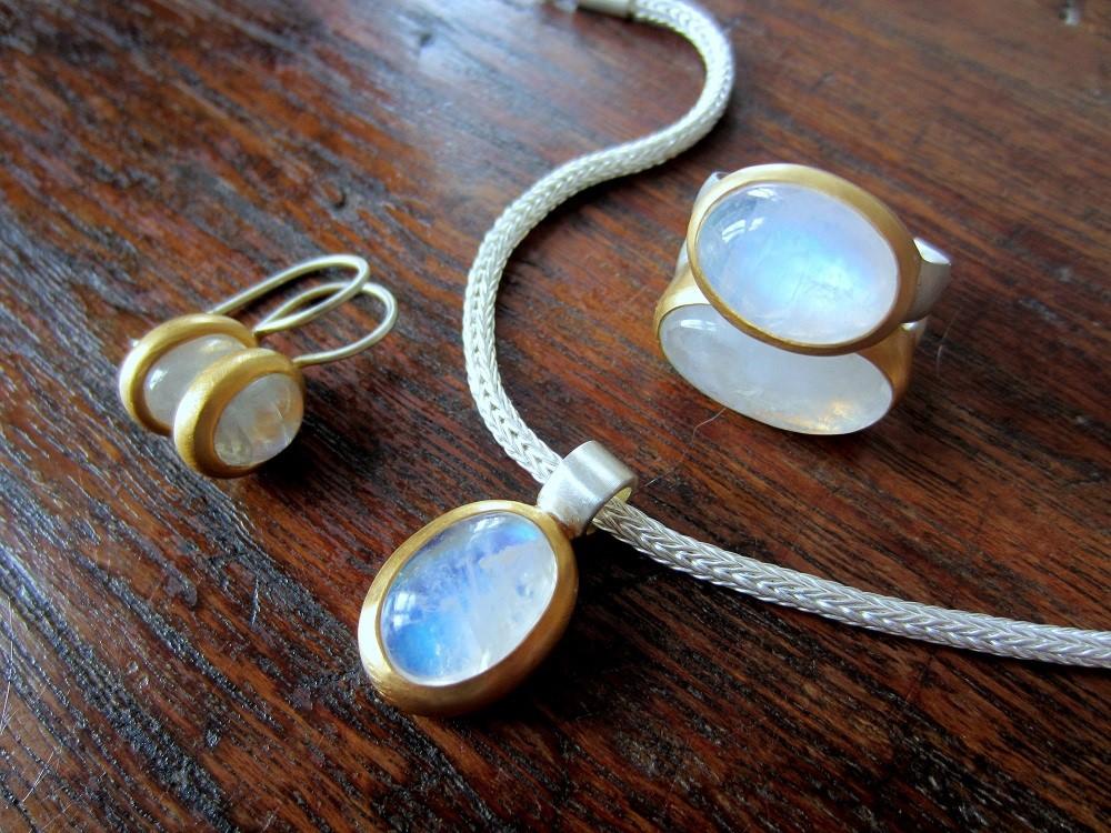 Designerschmuck, Silber, vergoldet
