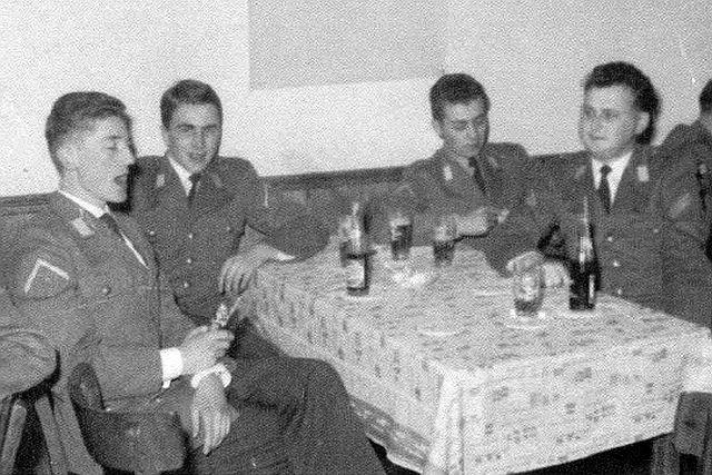 1959 Fm Zug 1.PzAufklBtl 2 Fritzlar_v.li. Uffz Kuhnhard von Schmidt_Uffz Willi Giepen_Uffz Gerhard Kosubeck_StUffz Günter Stegmann
