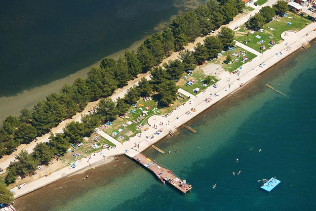 Strunjan, aerial beach view