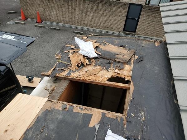 勾配不足で雨漏りした屋根の画像
