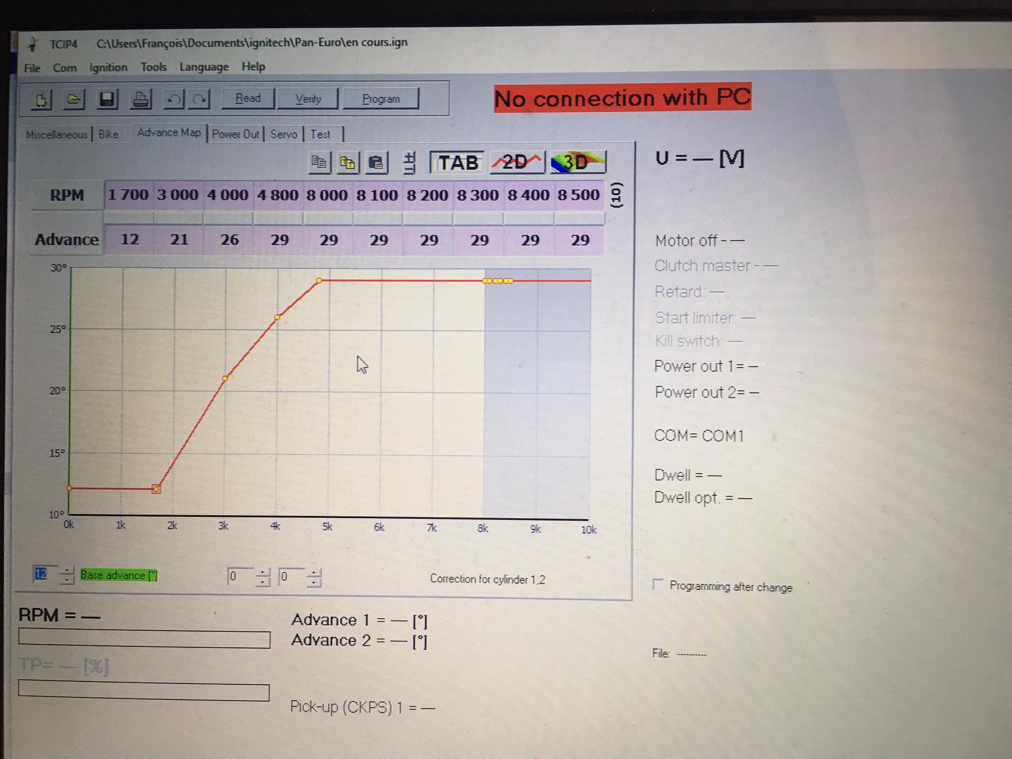 exemple de courbe d'avance à l'allumage