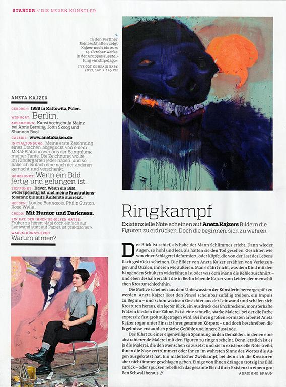 art - Das Kunstmagazin, 10/2018, STARTER: Aneta Kajzer