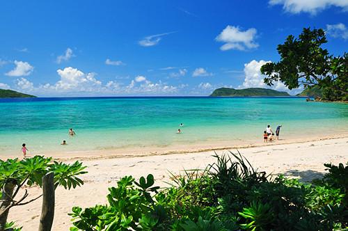 イダの浜で泳ぐ観光客