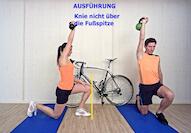 im video siehst Du die Ausführung der Physio Übungen für Radfahrer Schritt für Schritt erklärt für Stretching, Kräftigung und Mobilisation