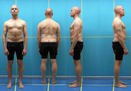 aus 4 Perspektiven aufgenommene Körperhaltung-Körperstatik