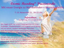"""Kostenloser Cosmic Recoding® Infoabend zur nächsten Praxiswoche """"Mit neuer Energie zu Wohlbefinden und Wunschgewicht"""" - 09.09.2021 von 20-21 Uhr"""