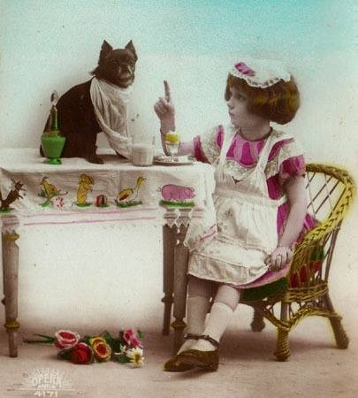 Postcard, 1920-30. Tea Party