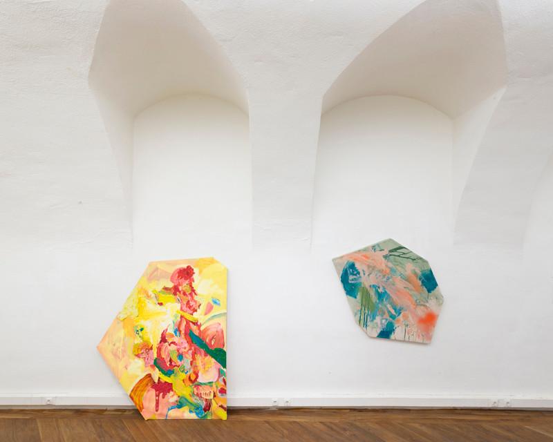 "#02/13, 2013, mixed technic on canvas, 190x158cm + #06/13, 2013, mixed media on canvas, 110x100cm, show view bei ""Im Ersten"", April  2014, Vienna  Foto Matthias Aschauer"