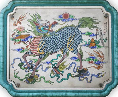 Fresco de un templo en el distrito de Taipei con detalles del chilin, mitológico animal que augura buena fortuna según las creencias de la tradición china. Fuente: noticias.nat.gov.tw