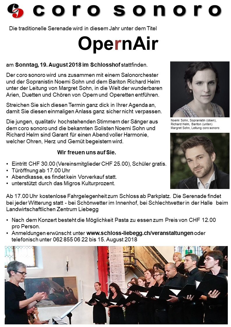 OpernAIr auf Schloss Liebegg mit dem coro sonoro - So. 19.08.2018 18:00 Uhr