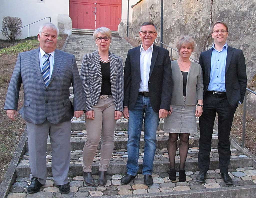 Vorstand 2019: Ueli Widmer (Kassier), Gabi Striffler, Urs Bachmann (Präsident), Karin Elsasser, Markus Merz