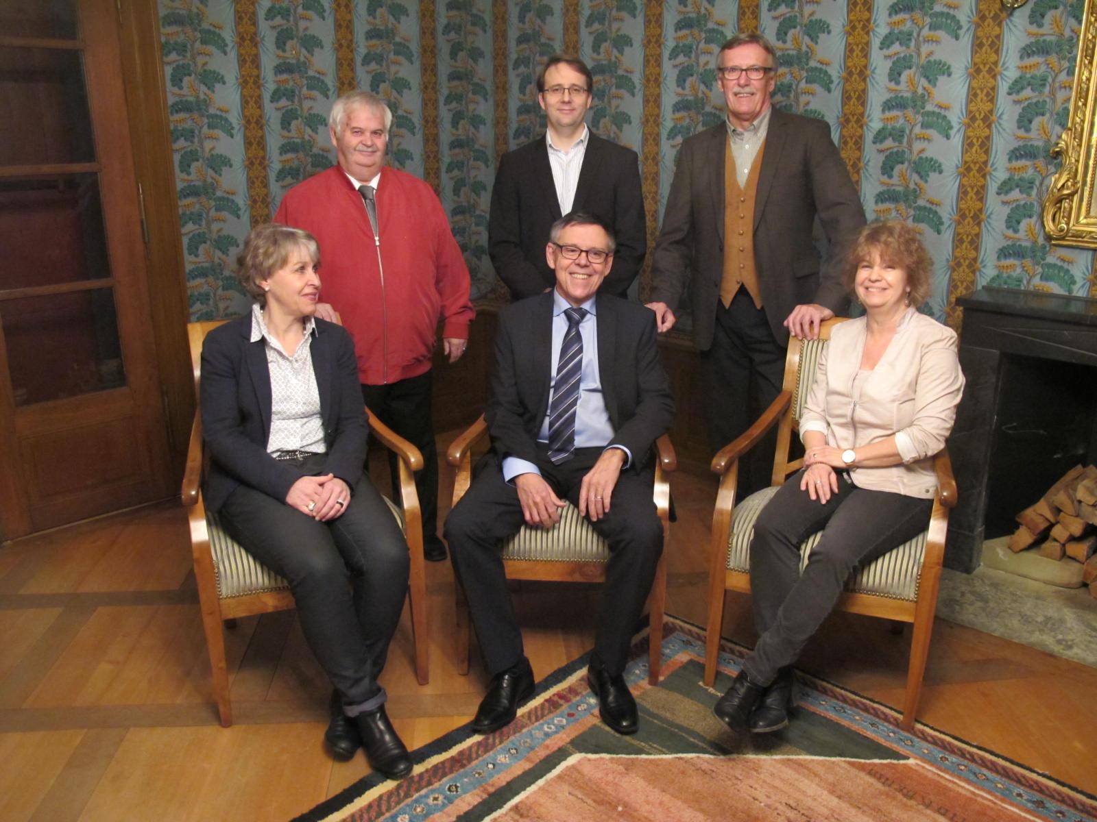 Vorstand 2017: sitzend: Gabi Striffler, Urs Bachmann (Präsident), Karin Elsasser / stehend: Ueli Widmer, Markus Merz, Dölf Pfister