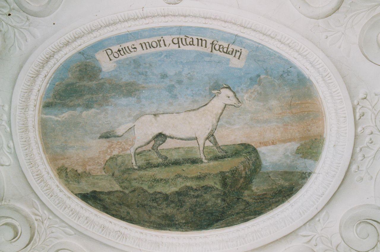 """11) Ein von Sumpf und Morast umgebener Hermelin: """"POTIUS MORI, QUAM FOEDERI"""" (Eher sterben, als sich verbünden)."""