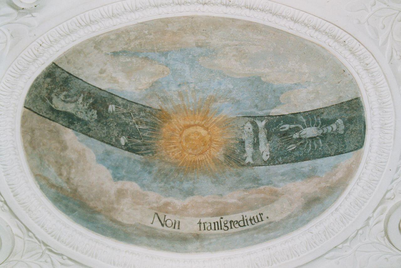 """22) Die Sonne bewegt sich auf dem Tierkreis: """"NON TRANSGREDITUR"""" (Sie wird ihn nicht überschreiten)."""