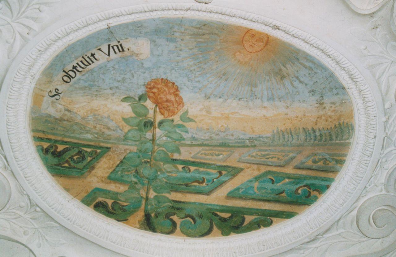 """17) Eine Sonnenblume hat sich auf die Sonne ausgerichtet: """"SE OBTULIT UNI"""" (Sie hat sich dem Einen zugewandt)."""