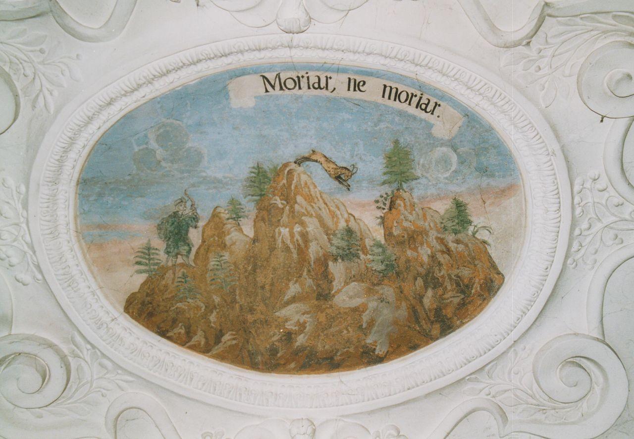 """10) Ein Steinbock springt von einer Felsenspitze zur anderen, um dem Jäger zu entgehen: """"MORIAR, NE MORIAR"""" (Zum Sterben bereit, um nicht zu sterben)."""