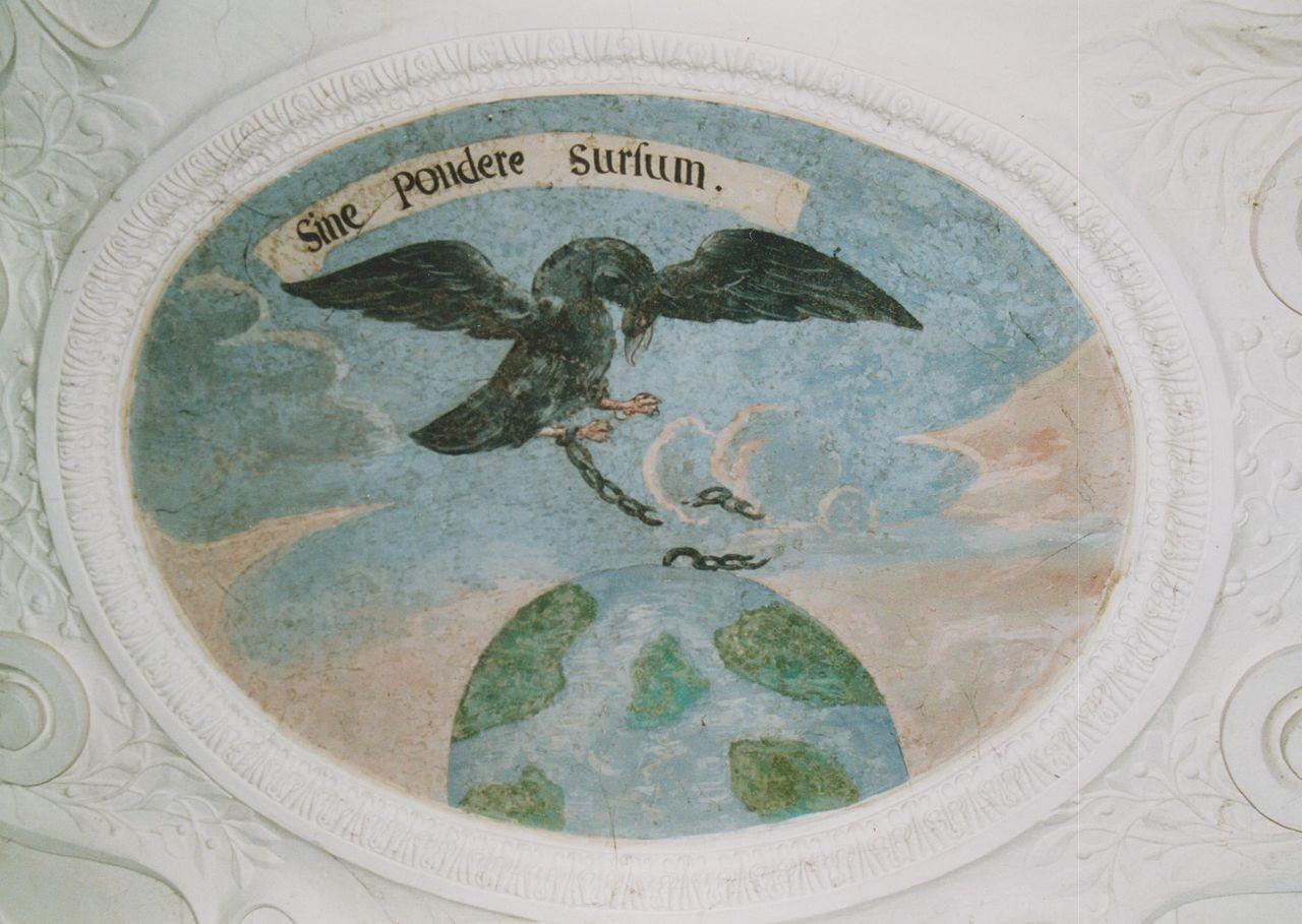 """14) Der aufwärts fliegende Adler hatt die Kette, mit der er an die Weltkugel gefesselt war, zerbrochen: """"SINE PONDERE SURSUM"""" (Ohne Gewicht aufwärts)."""