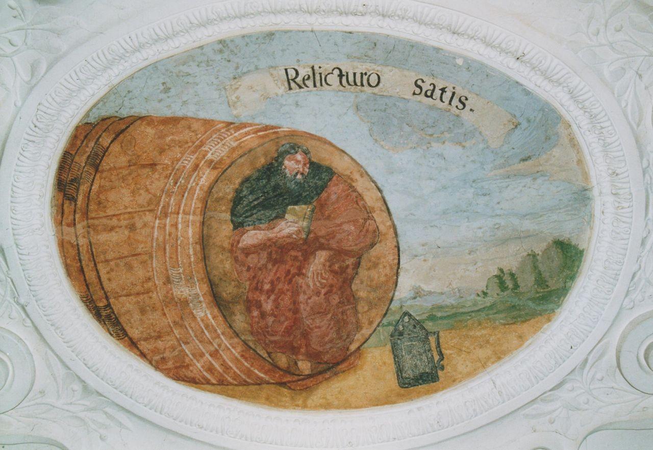 """16) Diogenes in seinem Fass hölt ein Buch in den Händen: """"RELICTURO SATIS"""" (Es genügt dem, der alles zurücklassen wird)."""