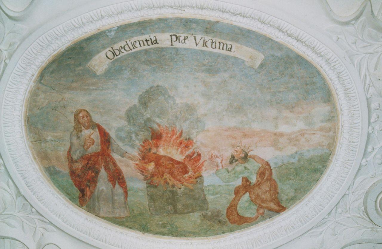 "20) Samuel und Saul vor dem Altar: ""OBOEDIENTIA PRAE VICTIMA"" (Gehorsam vor Opfer [1 Sam. 15,22])."