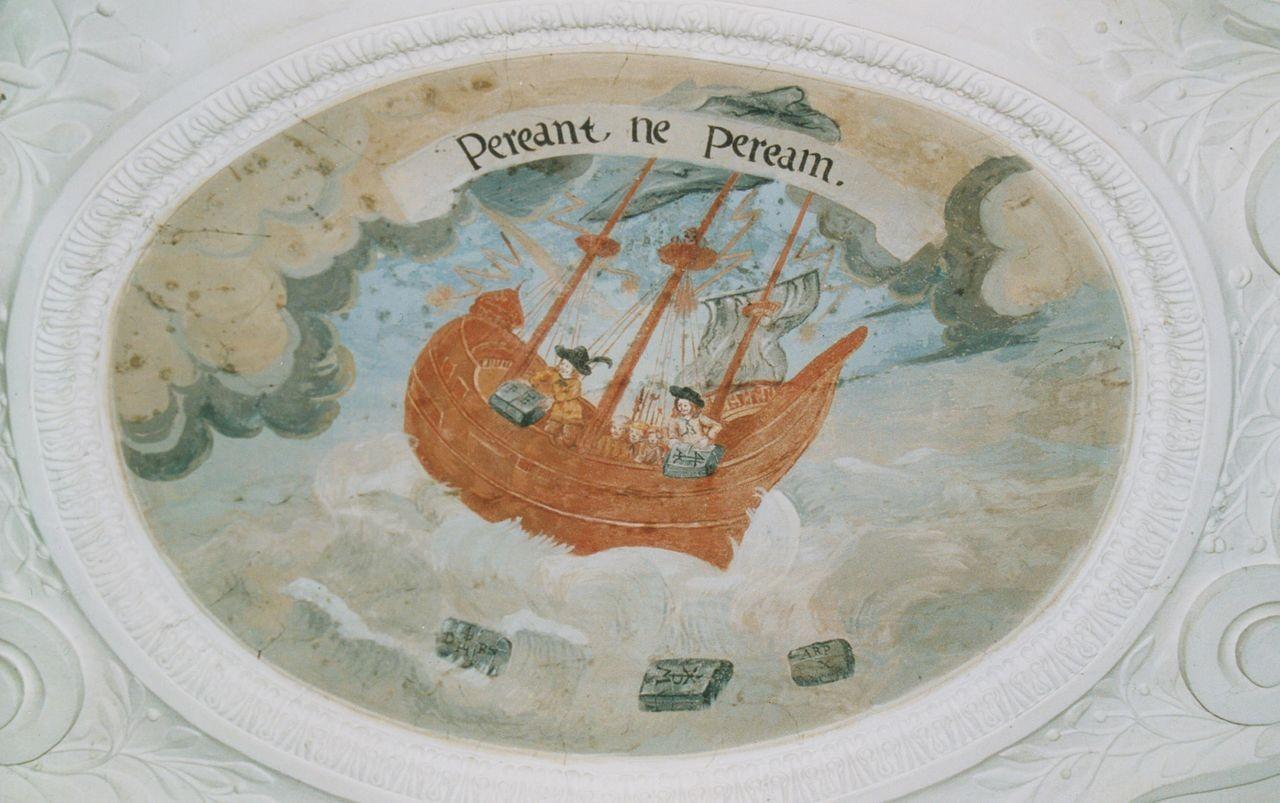 """18) Ein Schiff ist in einen Sturm geratn und dem Untergang nahe. Die Seeleute werfen die Fracht über Bord, um nicht zu ertrinken: """"PEREANT, NE PEREAM"""" (Sie [die kostbaren Stücke der Fracht] mögen zugrunde gehen, damit ich nicht zugrunde gehe)."""