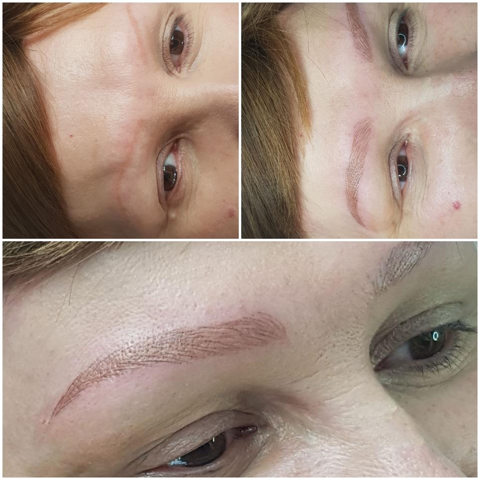 Brwi permanentne metodą włosków w alopecji
