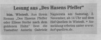 Nordheide Elbe Geest Kreiszeitung v. 26.10.2013