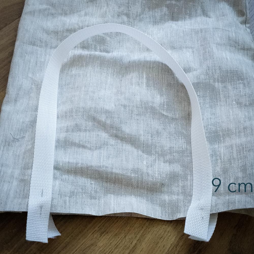 Bild 2, die Gurtbänder werden festgesteckt.