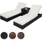 TecTake 2x Aluminium Polyrattan Sonnenliege + Tisch Gartenmöbel Set - inkl. 2 Bezugsets + Schutzhülle, Edelstahlschrauben - diverse Farben - (Schwarz (Nr.…