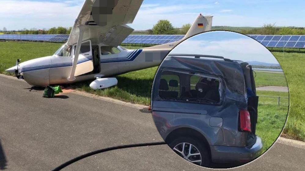 Kleinflugzeug kracht gegen Auto - Mutter und Baby in Klinik!