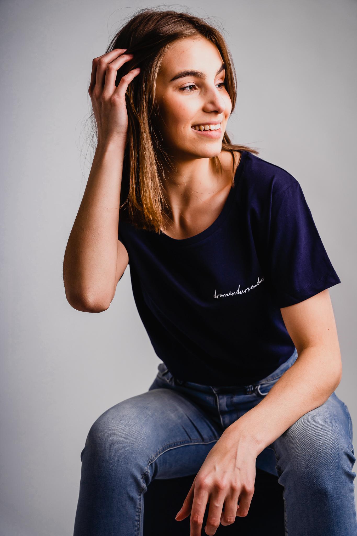 Iwrite4U marineblauw dames T-shirt dromen durven doen